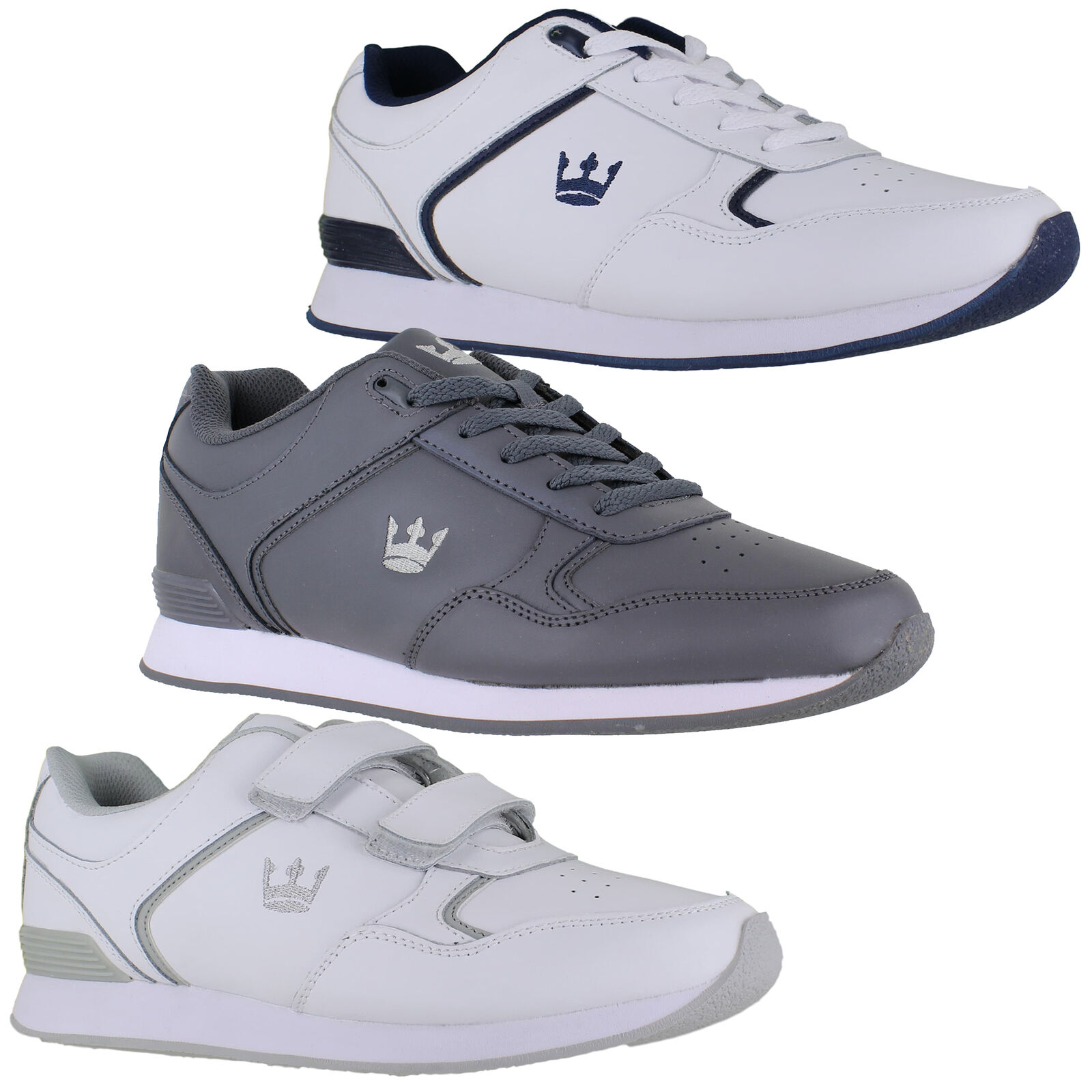 Mens Womens Crown King Leather Lace/Touch Fasten Bowls Shoes Sizes 4 to 12