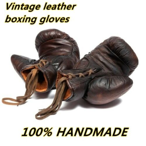 Vintage leather Classic boxing gloves Brown Old Fashioned Gloves Boxing Gloves