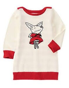 07422a8dc8ac Gymboree Olivia the Pig Ivory   Red Sweater Dress Toddler Girl Size ...