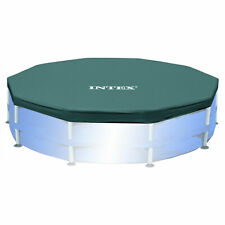Intex 10 Foot Round Easy Set Outdoor Backyard Swimming Pool Cover, Blue