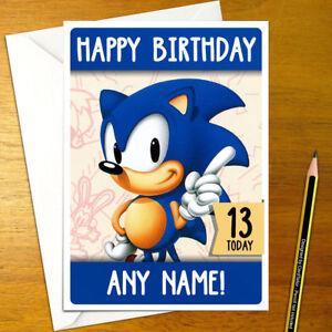Detalles De Sonic El Erizo Tarjeta De Cumpleaños Personalizados Sega Genesis Colas Personalizado Ver Título Original
