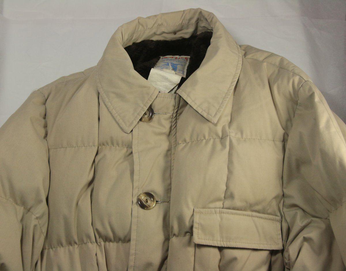 Vintage Peerless Garments Dew Line Full Length Down Coat 44 Tan Water Fowl Down