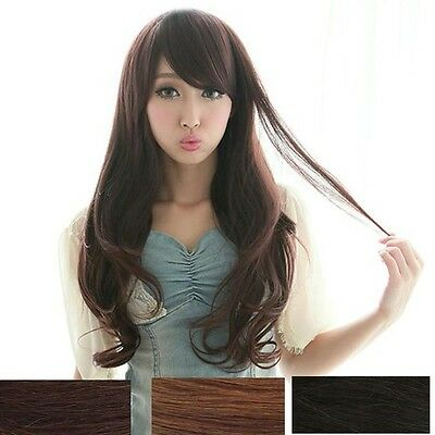Womens High Quality Long Curly Wavy Hair Full Wig Cosplay Party Wigs Black/Brown
