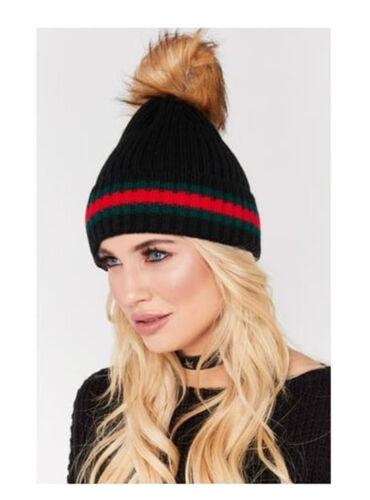 Womens Designer Green Red Stripe Knitted Faux Fur Detachable Pom Pom Beanie Hat