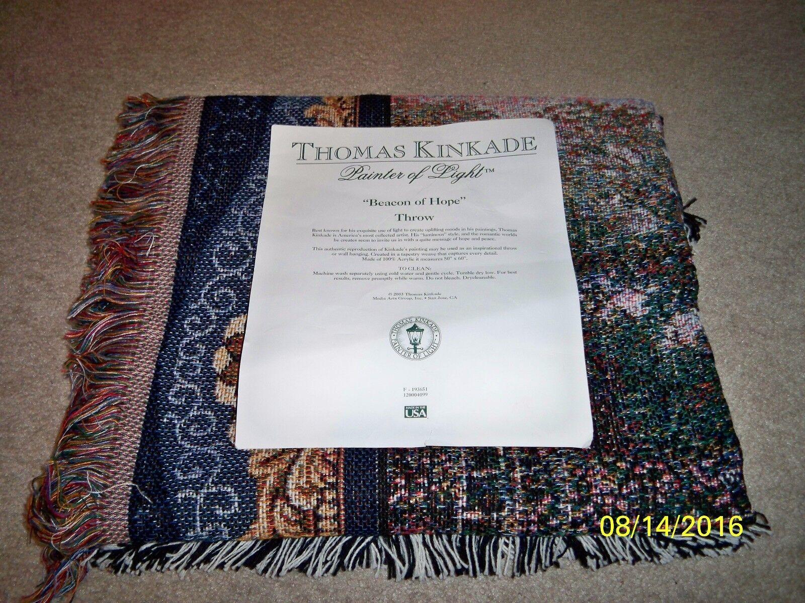 BRAND NEW  THOMAS KINKADE PAINTER OF LIGHT  BEACON OF HOPE  50  x 60  THROW