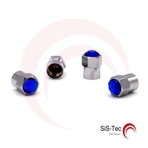 4 x Alluminio Blu Tappi valvola kristalstein le valvole per pneumatici TAPPI VALVOLA