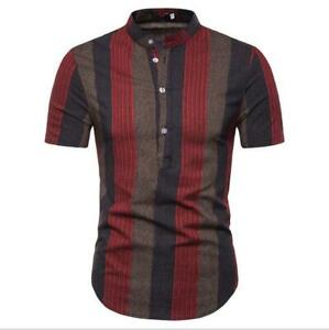 Luxury-Men-039-s-Shirts-Slim-Fit-Short-Sleeve-Casual-Dress-Shirts-New-T-Shirts-Tops