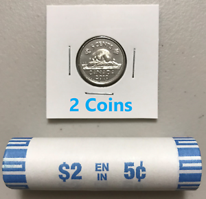 CANADA-2019-New-2x-5-cents-ORIGINAL-BEAVER-Circulation-coin-UNC-From-mint-roll