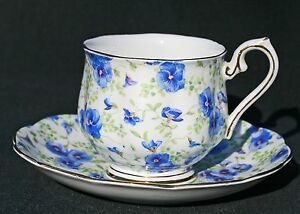 Royal Albert Blue Purple Pansy Chintz Cup and Saucer Bone China England VG