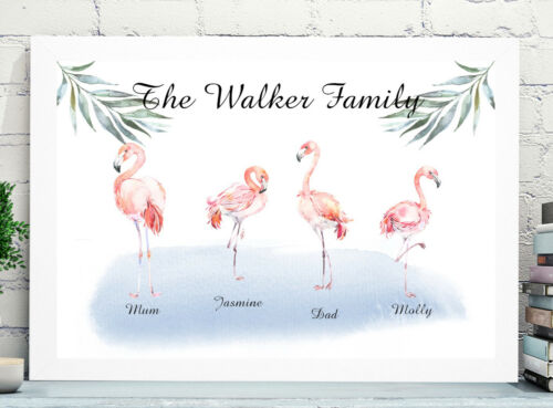 Personalised Family Print Picture Christmas Present Gift Flamingos P209