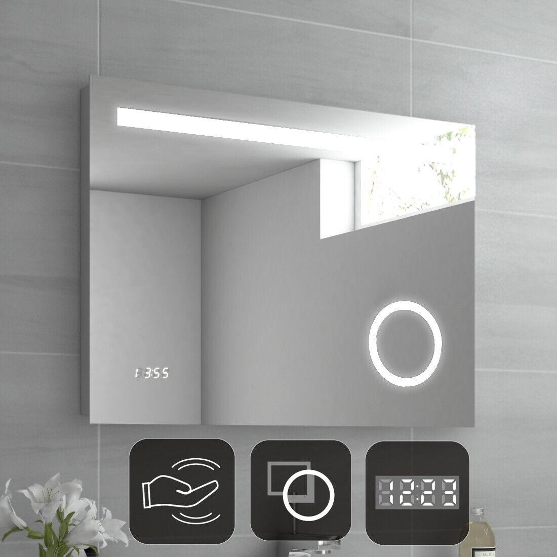 Badspiegel mit LED Beleuchtung Sensor Schalter und Uhr Badezimmerspiegel 80x60cm