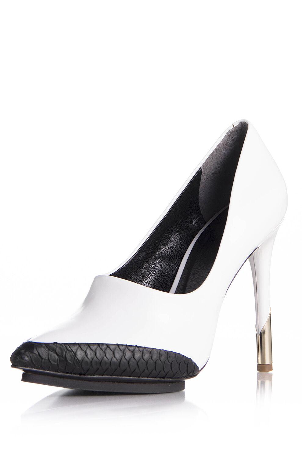 rivenditore di fitness Rachel Roy Roy Roy Beeana bianca nero Platform Heels Leather SEXY NIB oro scarpe NEW  buon prezzo