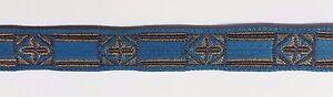 Vintage-Frances-Cruz-Diseno-Marron-Oro-en-Azul-para-Vestment-1-3cm-Ancho-4-6m