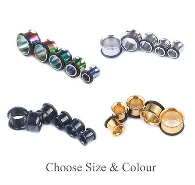Single Flare Flesh Tunnel 316L Steel Screw Fix Ear Stretcher Expander Plug Sizes