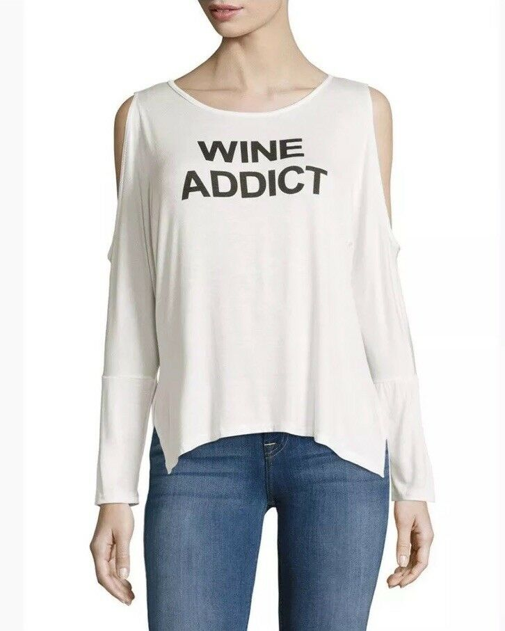 32c09590c76 PPLA clothing Wine Addict Long Sleeve Cold Shoulder Top Size L NWT ...