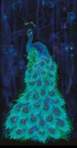 "Chong A Hwang Moonlight Plume Peacock Cotton Quilt Fabric Panel 24"" x 43"""