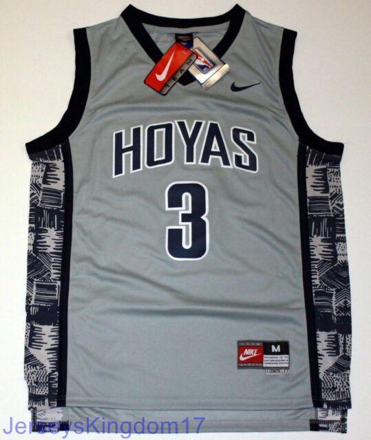 big sale e0949 094f2 NCAA Throwback Basketball Jersey ALLEN IVERSON 3 Georgetown Hoyas Gray Men  NWT