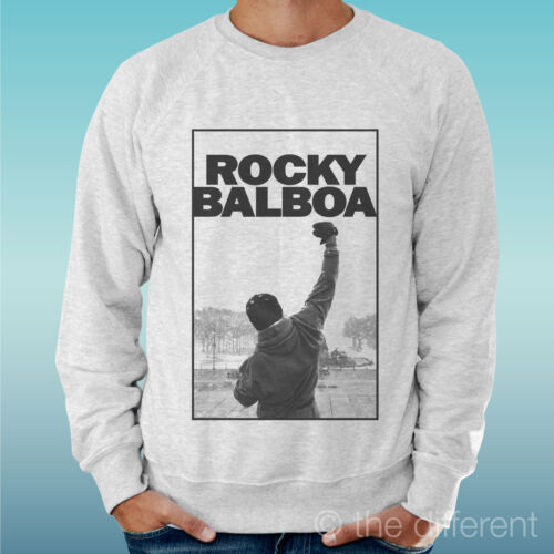 "FELPA UOMO LEGGERA SWEATER GRIGIO CHIARO GREY /"" ROCKY BALBOA MOVIE FILM CULT /"""