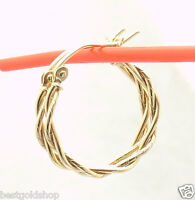 Twisted Double Wire Round Hoop Earrings Real 14k Yellow Gold Free Shipping