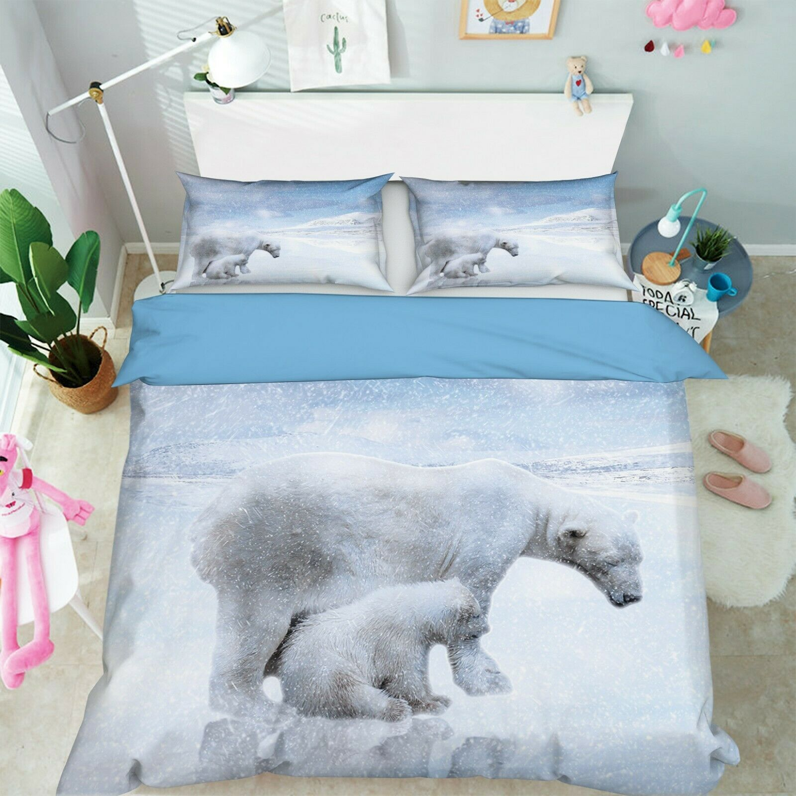 3D Polar Bear O88 Animal Bed Pillowcases Quilt Duvet Cover Set Queen King Amy