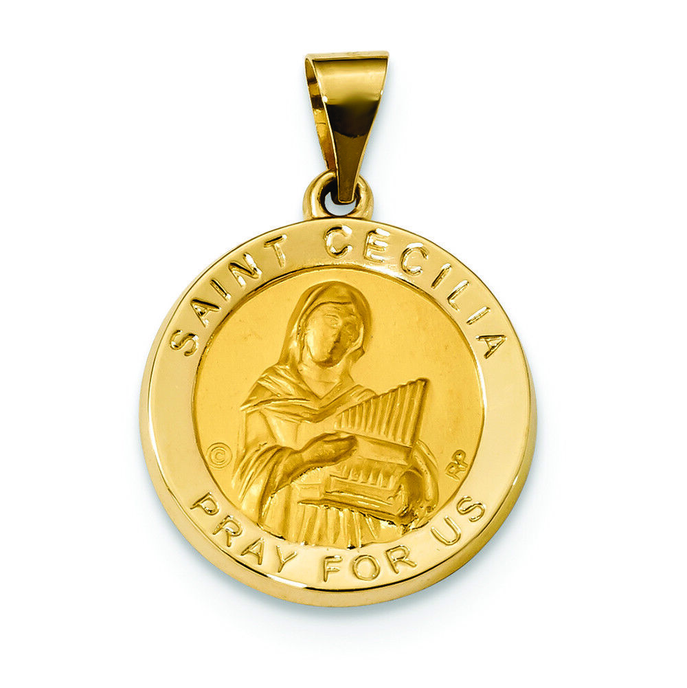 14K Yellow gold Hollow St. Cecilia Medal Charm Pendant MSRP  421