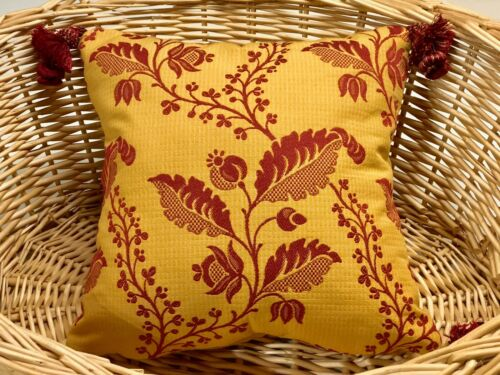 YELLOW//RED FRENCH PROVINCIAL PROVENCE STYLE  TOSS PILLOW 11 X 11