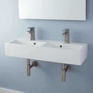 ... Hardware Lowen Double Bowl Porcelain Wall Mount Bathroom Sink eBay