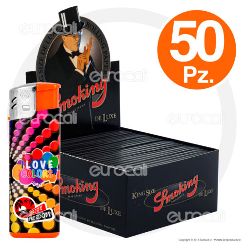 Cartine SMOKING NERE DE LUXE black LUNGHE 50 pz King Size kingsize 1 box