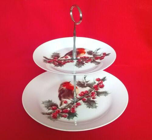 Christmas Robin 2 Tier Cake Plate