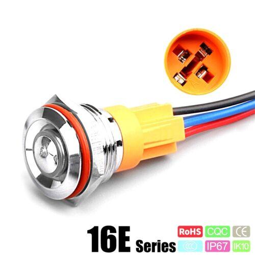 16 mm Ultra Court Bouton Poussoir Interrupteur Petit Latching momentané vert 12 V Breadboard