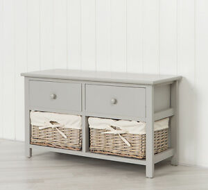 Image Is Loading Grey Wooden Storage Unit Bench With Two Natural