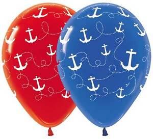 Anchors away nautical latex balloons baby shower birthday for Anchor balloon decoration