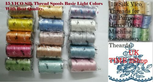 15 VICO Strong Silk Rayon Embroidery Machine Thread Strong Spools 15 colors UK