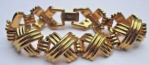 Bracelet Plaqué Or Rhodié Signé Napier Numéroté Maillons X Bijou Vintage 1901 Parfait Dans L'ExéCution
