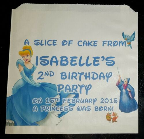 Party Bags Personalised Disney Cinderella Princess White Cake
