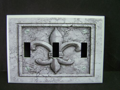FLEUR DE LIS AGED STONE IMAGE GRAY TONES  LIGHT SWITCH COVERS PLATE AND OUTLETS