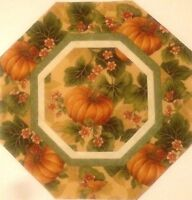 Fall Harvest Pumpkin Floral Quilted Table Topper Mini Quilt - 13