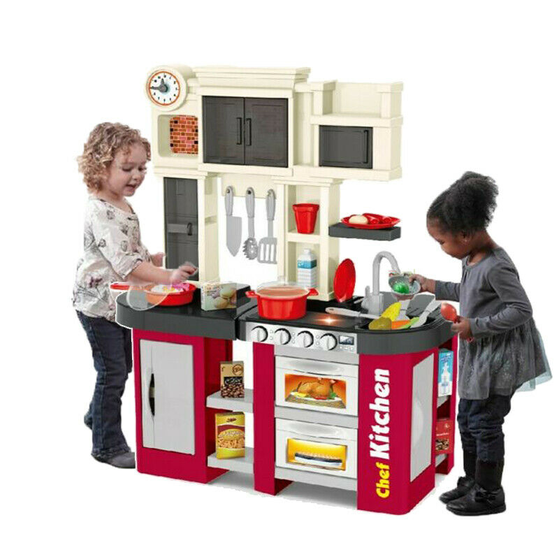 Kitchen Play Set Kids Pretend Toy Food Cooking Toddler Toys