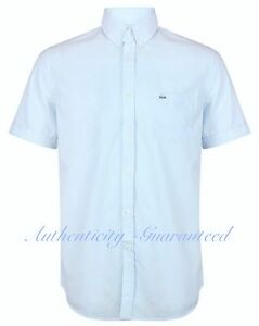 Lacoste-Men-039-s-Short-Sleeve-Shirt-Light-Blue-Gingham-Check-RRP-85-BNWT-SALE