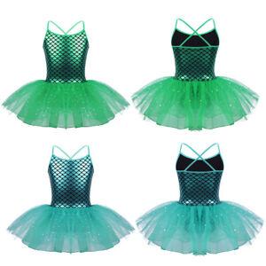 Girls-Mermaid-Shiny-Leotard-Ballet-Tutu-Dress-Ballerina-Dance-Gymnastics-Costume