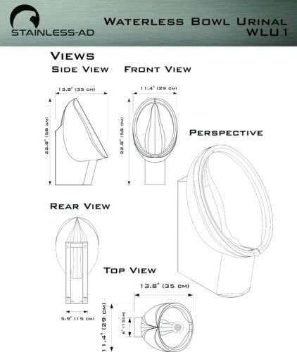 Waterless Urinal Stainless Stainless AD WLU1