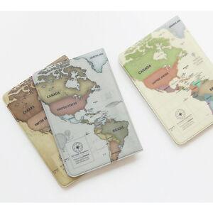 World Map Passport Holder.Vintage Style World Map Passport Holder Cover Travel Wallet Card