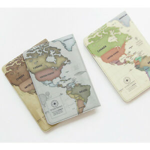 Vintage style world map passport holder cover travel wallet card image is loading vintage style world map passport holder cover travel gumiabroncs Images
