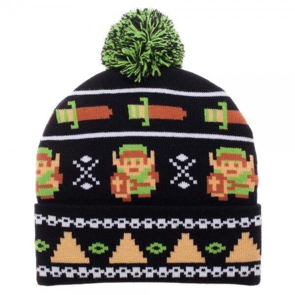 88ae94bca7b The Legend of Zelda Nintendo 8 Bit Fair Isle Link Cuff Beanie Knit Hat for  sale online