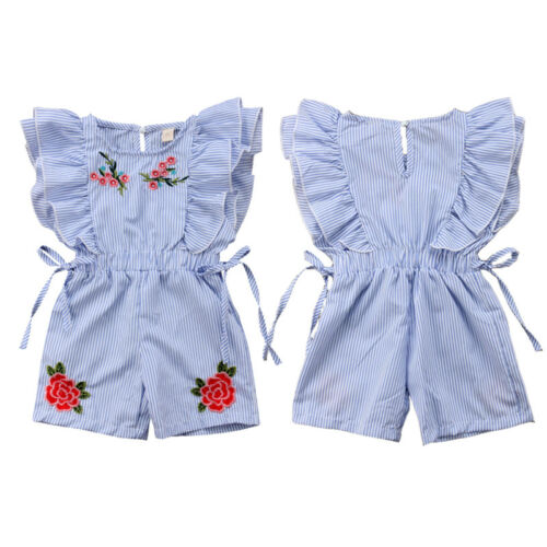 Toddler Kids Baby Girl Flower Striped Ruffle Romper Jumpsuit Outfits Clothes Set