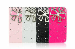 Luxury-Leather-Bling-Crystal-Diamond-Bow-Wallet-Case-For-Apple-Samsung-Phones