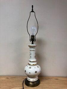Vintage-Gold-Trim-Ceramic-Lamp-W-Harp-And-Finial