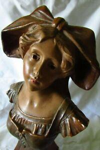 Beautiful-Antique-French-Art-Nouveau-Plaster-Chalkware-Bust-Statue-c1900