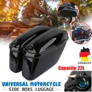 Paar-Motorrad-Seitenkoffer-Hartschalenkoffer-Satteltaschen-Koffer-Glanz-Schwarz