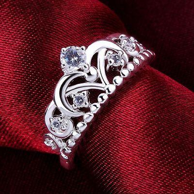 NEW Fashion Silver Lady Crown wedding Crystal women lady hot Ring Jewelry R601